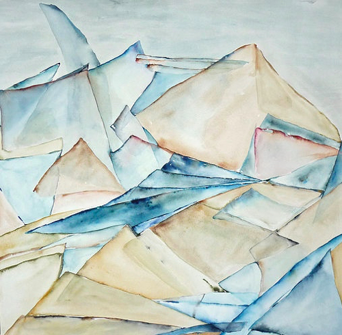 Pastel Watercolor Of Icebergs Landscape