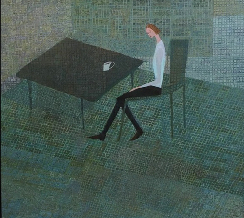 Painting Of a Woman At A Table By Marica Hermann