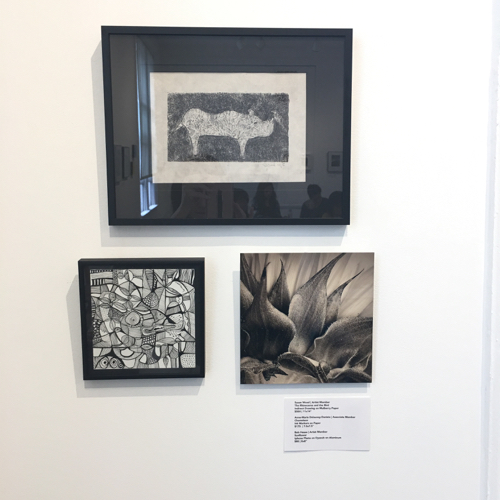 Trio of Black & White Artwork at Miniatures Exhibit at Cambridge Art Association