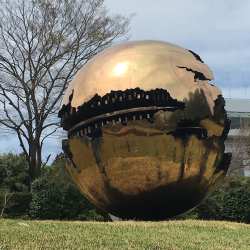 Gold Ball Sculpture In Hakone Japan Sculpture Garden