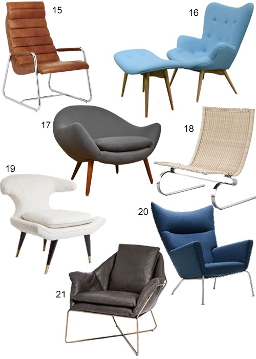 Mid-Century Modern Lounge Chairs Modern Living Room Furniture