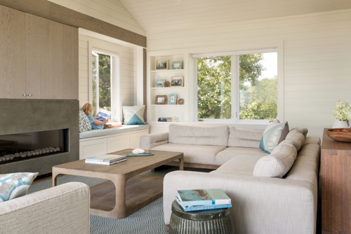Modern But Comfortable New England Beach House Living Room