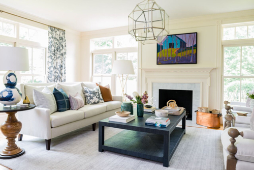 White Living Room With Colorful Art By Boston Designer Meredith Rodday