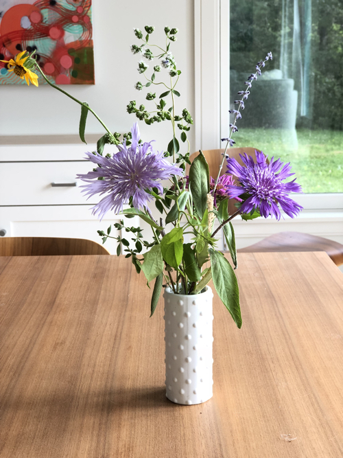 Late Summer Purple Flowers From Cape Cod In CB2 Vase