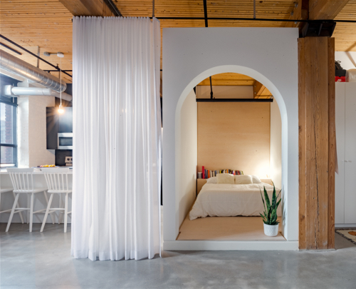 Canadian Contemporary Architecture Modern Farmhouse Near MontrealCanadian Contemporary Architecture Bedshed With White Curtain And Archway