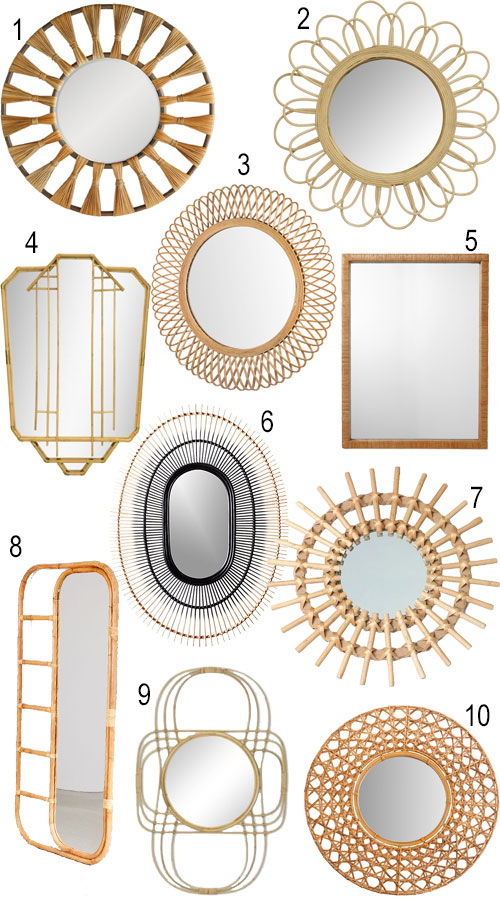 Coastal Accessories Boho Accessories Natural Woven Mirrors
