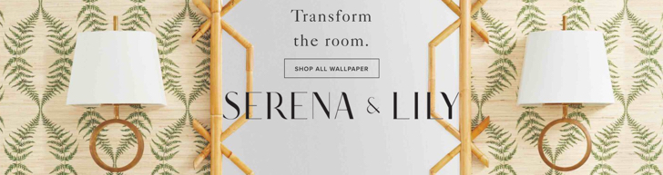 Serena & Lily Wallpaper Rattan Mirror Brass Sconces