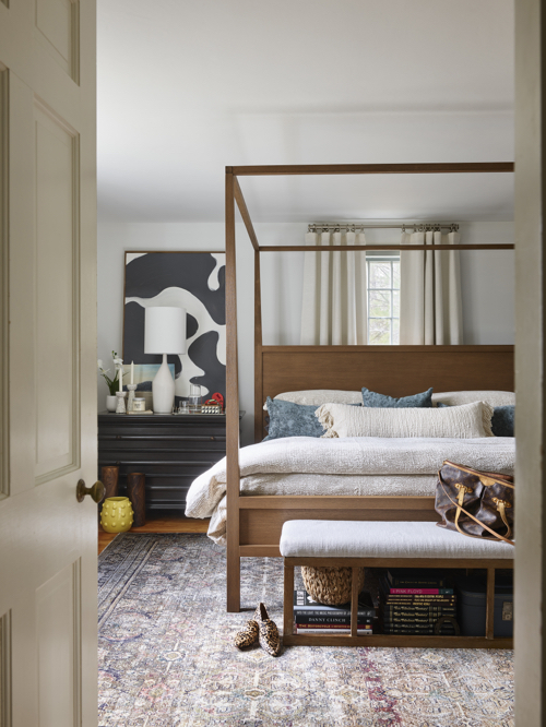 Wood Canopy Bed Transitional Bedroom By Designer Jenn O'Brien In Massachusetts