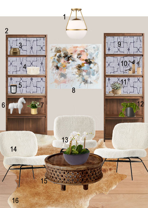 Sitting Room Decor Shearling Lounge Chairs Bookshelves
