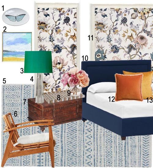 Bedroom Scheme With Blue Velvet Bed And Floral Wallpaper