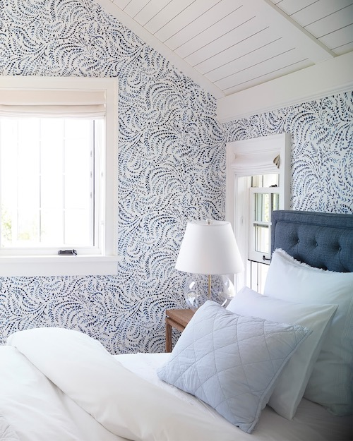 Serena & Lily Blue & White Wallpaper Coastal Bedroom Decor