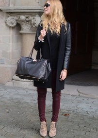 burgundy pants and leopard print booties