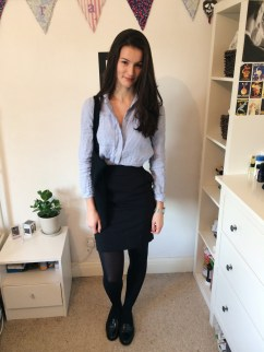 Look 1: Black M&S skirt and Beyond Skin flats