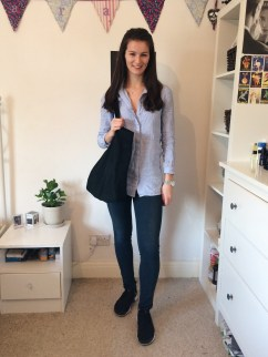 Look 2: Second hand jeans, Nike trainers, black tote