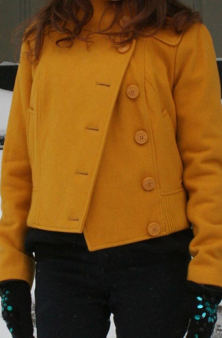 wool blend mustard coat