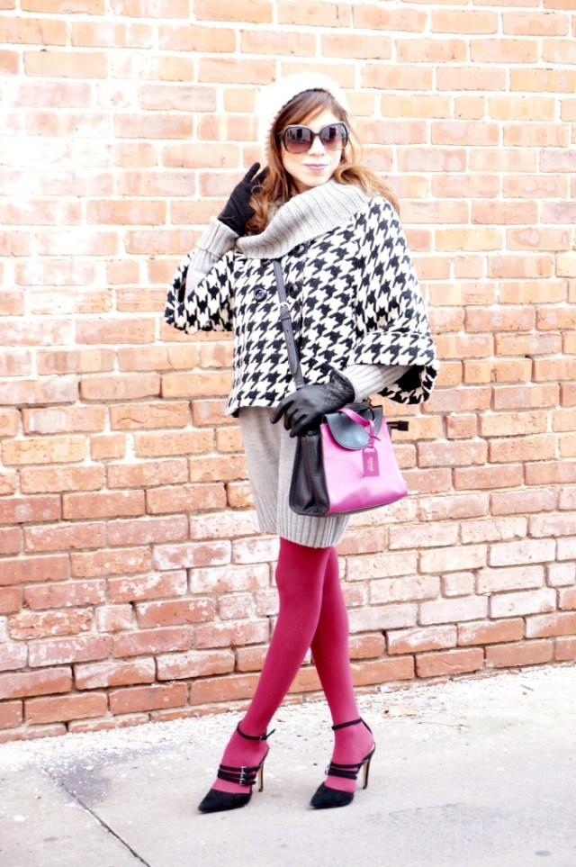 houndstooth cape and brights