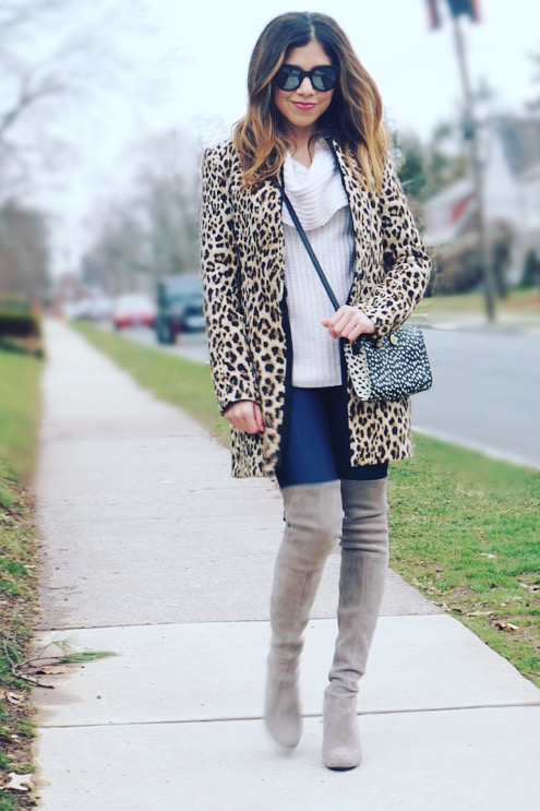Leopard Print and Over the Knee Boots - Winter Style