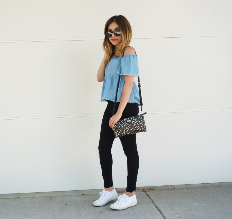 Off-the-shoulder chambray