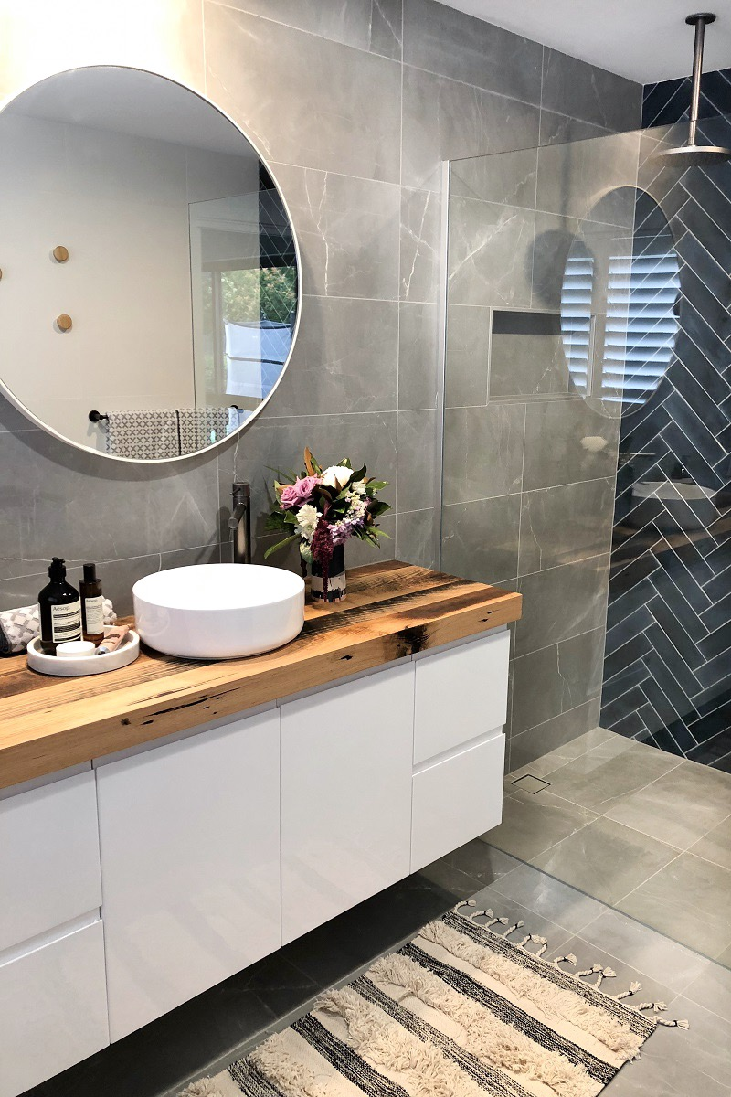 Navy Blue And Charcoal Bathroom STYLE CURATOR