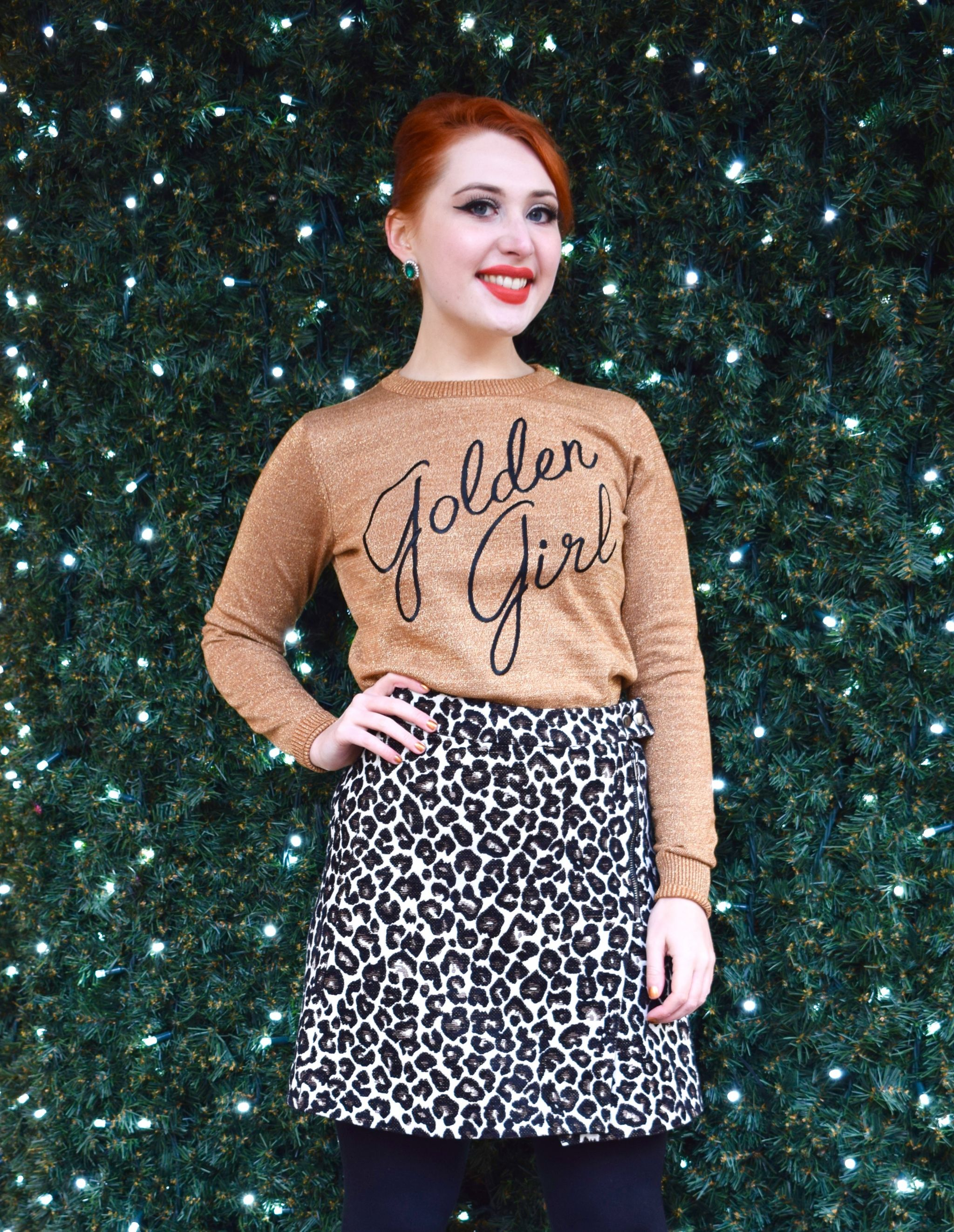 blogger Twenty-Something City wears Golden Girl jumper from Joanie Clothing in Manchester