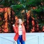 Blogger Twenty-Something City wears orange in Spinningfields, Manchester