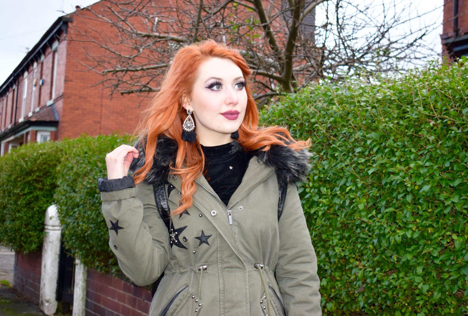 Blogger Twenty-Something City wearing New Look faux fur hood parka