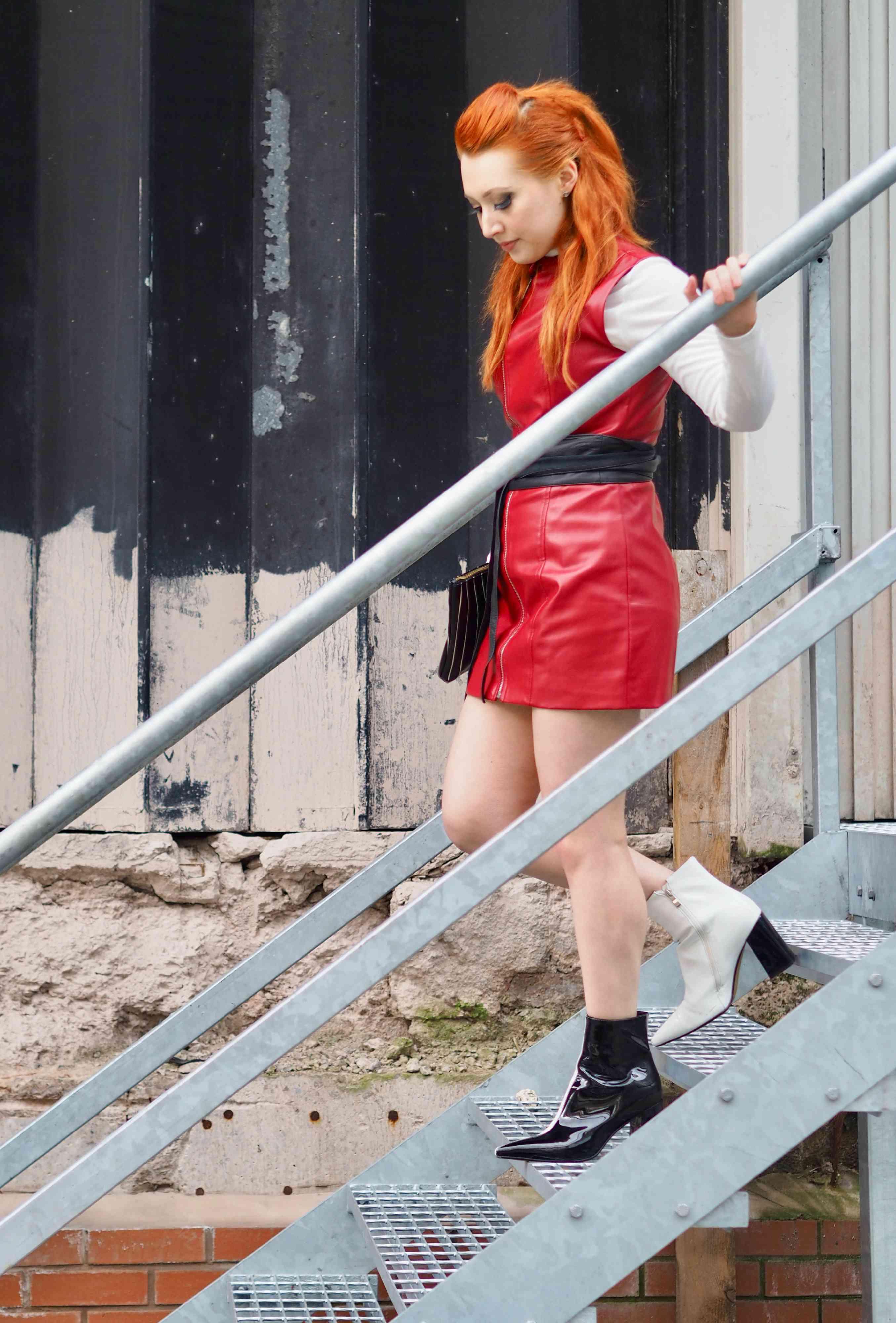 Blogger Twenty-Something City red leather biker dress Manchester street style