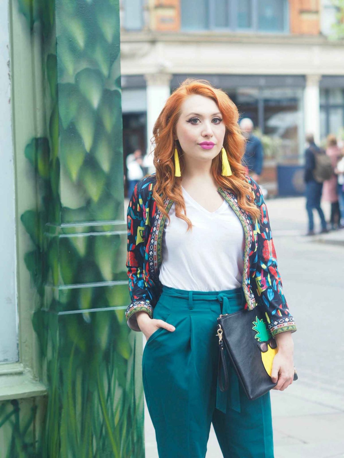 Blogger Twenty-Something City in Manchester wearing Shein colourful spring jacket
