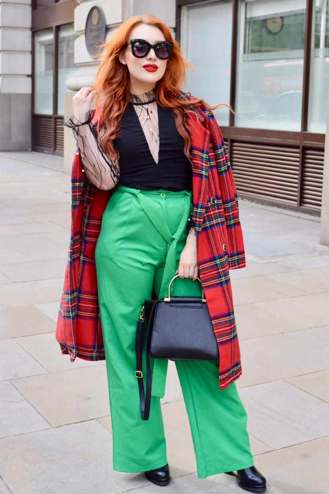 Blogger Twenty-Something City wears red tartan coat at LFW