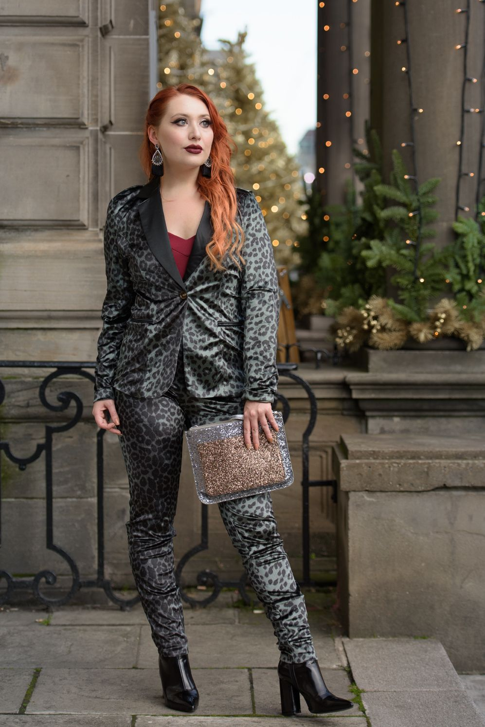 Scottish blogger Twenty-Something City Christmas Nasty Gal velvet leopard suit