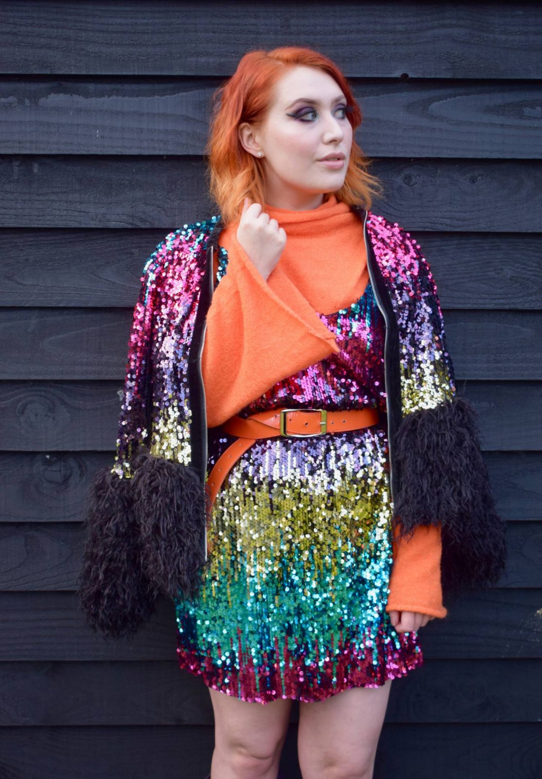Blogger Twenty-Something City colourful rainbow sequin dress and jacket from Shein