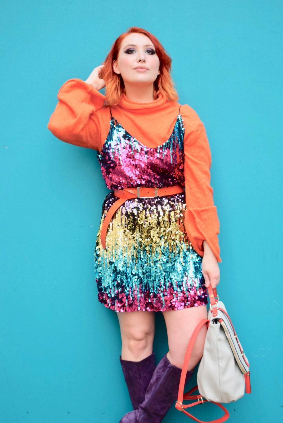 Blogger Twenty-Something City how to wear rainbow sequin dress