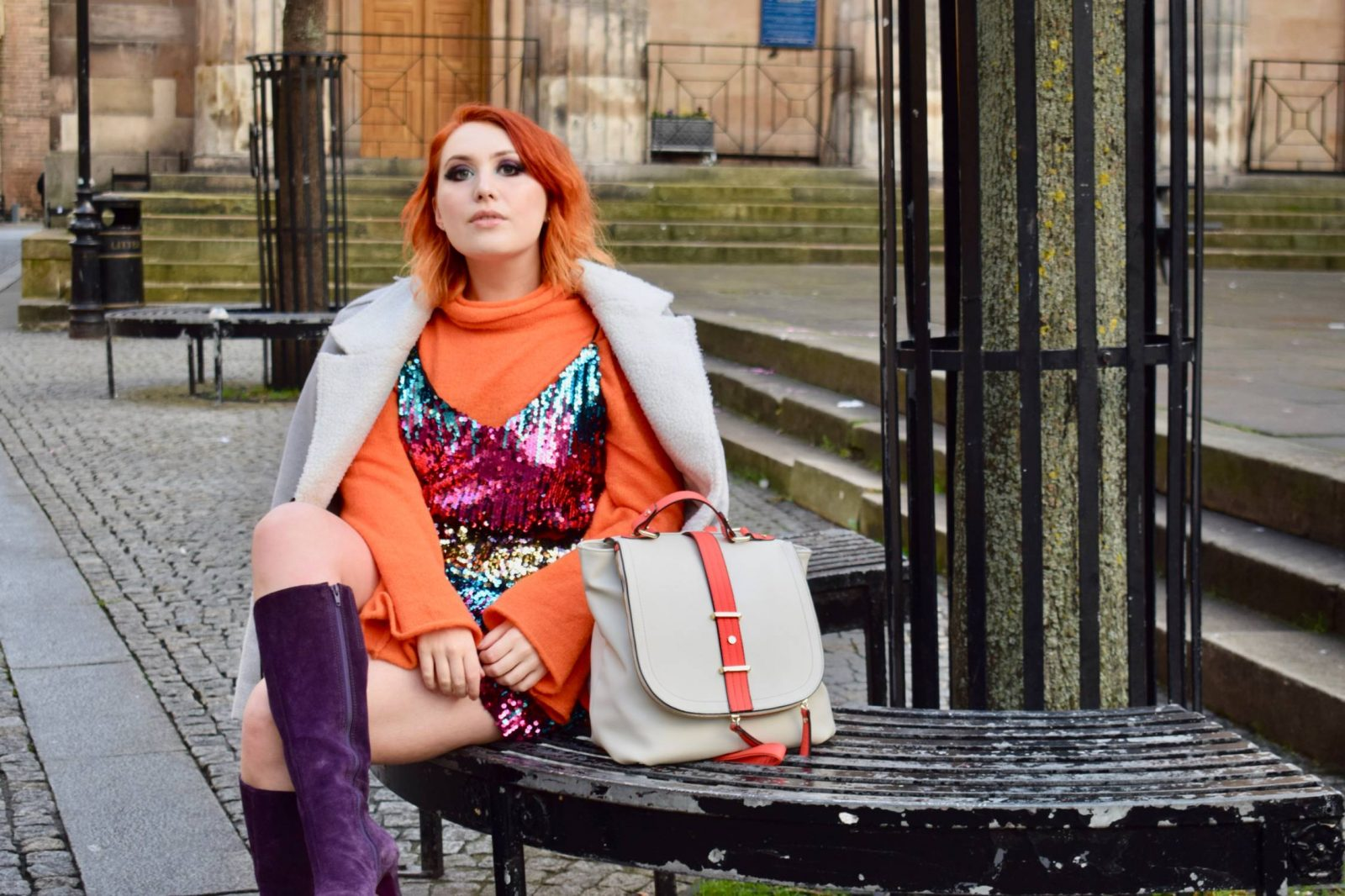 Scottish blogger Twenty-Something City wears daytime sequins dress in winter with purple knee high boots
