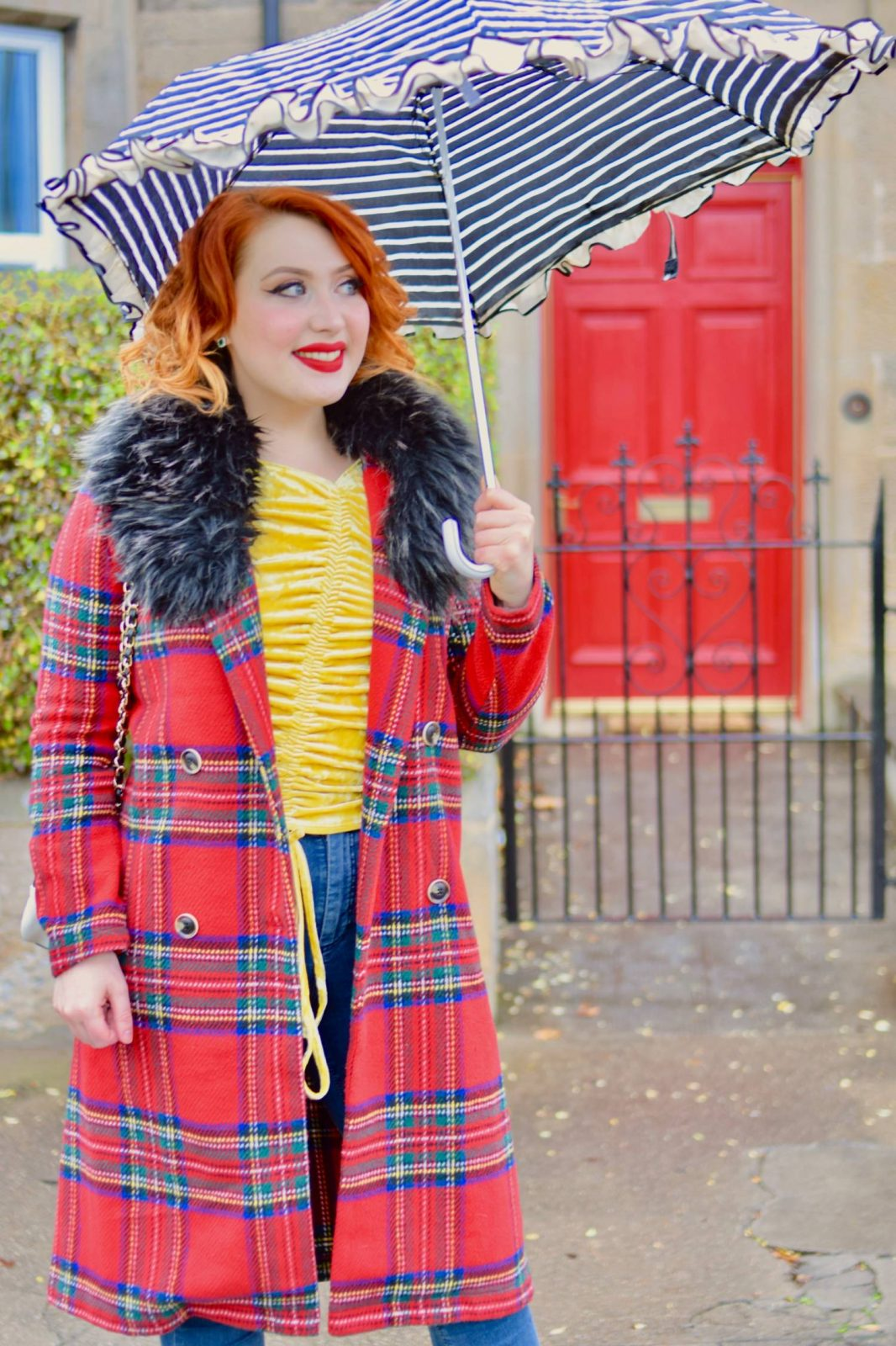 Scottish blogger with red hair Twenty-Something City tartan coat