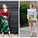 Scottish blogger Styled by Alice wears spring skirt trends in midi and mini styles