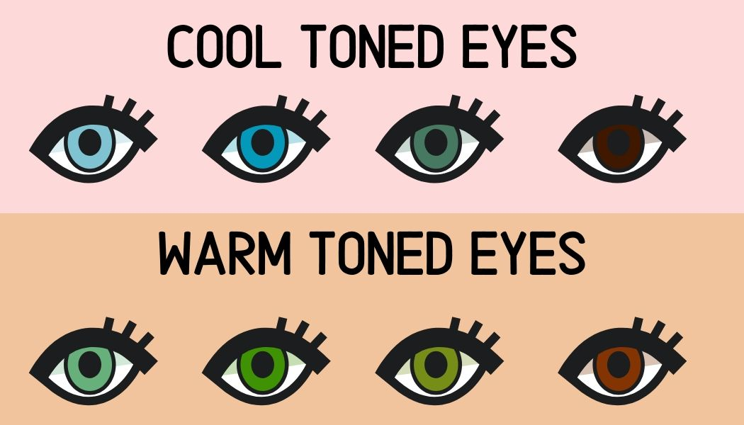 cartoon examples of cool and warm toned eye colours