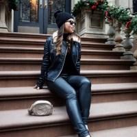 All Black Everthing: Fur Collar Biker Jacket, Black Turtleneck, Black Leather Pants, Black Suede Slip-On Sneakers and Gucci Soho Metallic Leather Mini Chain Bag
