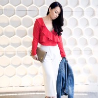 Easter Ruffles: Red Ruffled Crop Top, White Wide Leg Culottes, Classic Denim Jacket, Chanel Brooch, Ferragamo Clutch and Christian Louboutin Pumps