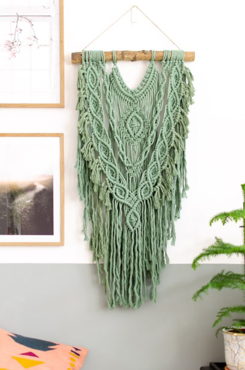 macrame wandhanger groen L