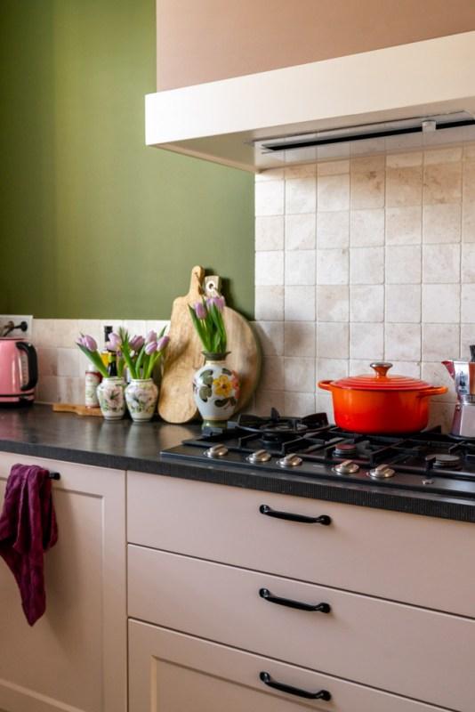 keuken groen met roze
