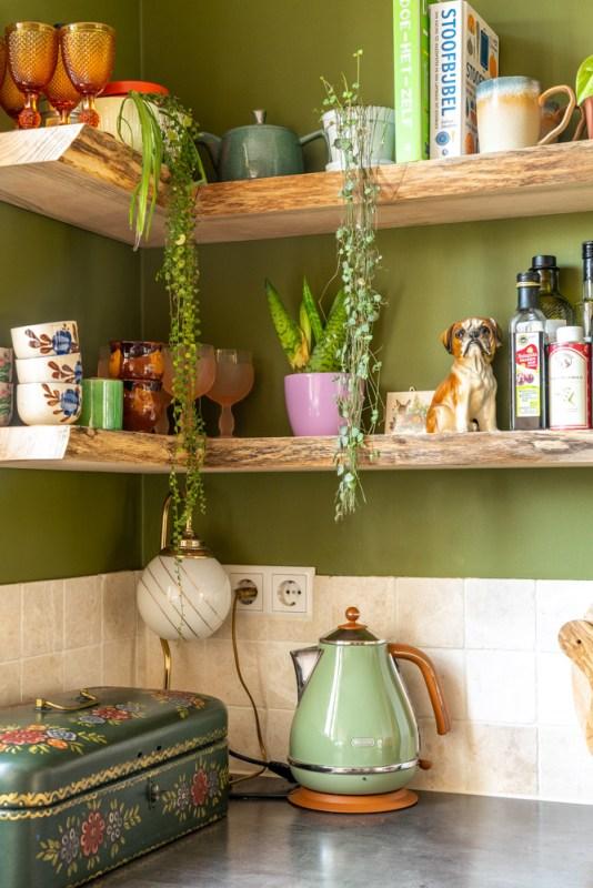 eikenhouten wandplanken keuken