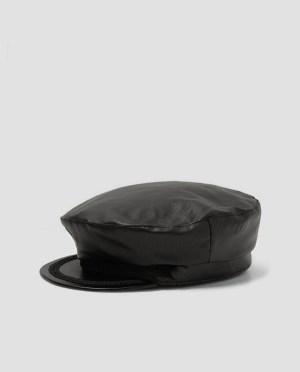 Zara Faux-Leather Baker Boy Cap