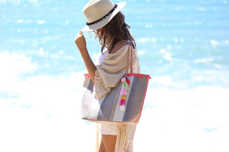 Sondra Roberts Striped Ball Fringe Tote, Jaylene Malley, Summer Accessories, Beach Bag, Summer 2017, Cute beach bag, Best beach tote