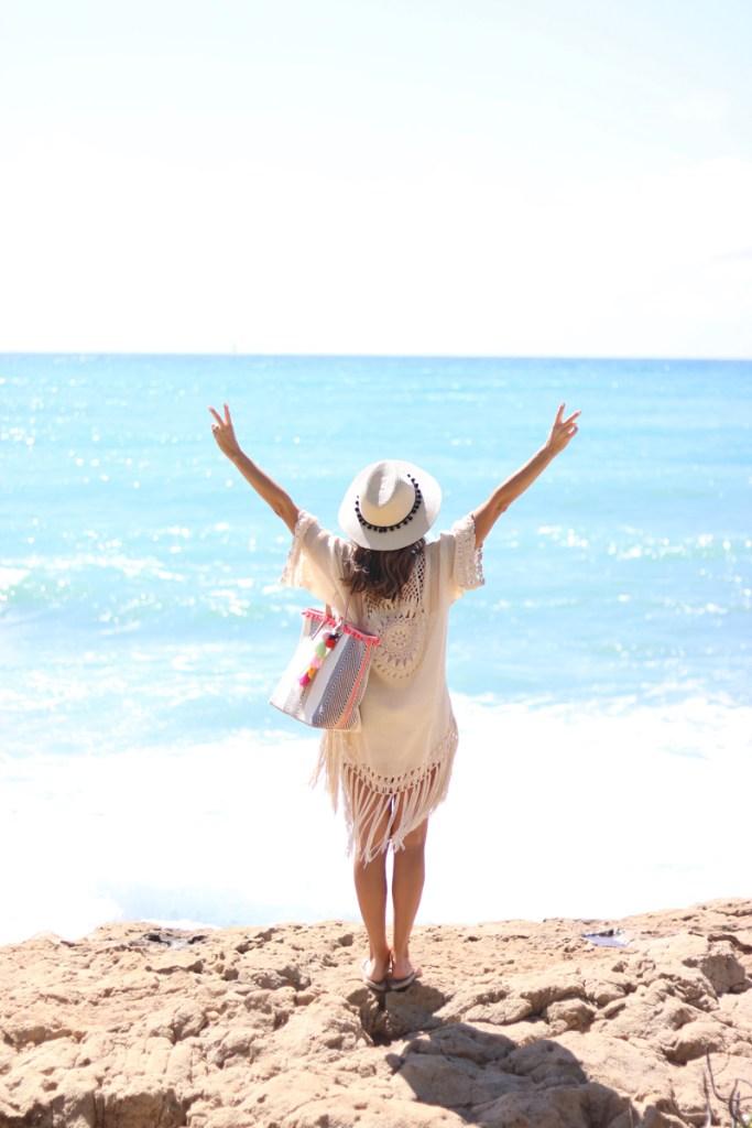 Sondra Roberts Striped Ball Fringe Tote, Summer Accessories, Beach Bag, Summer 2017, Cute beach bag, Best beach tote