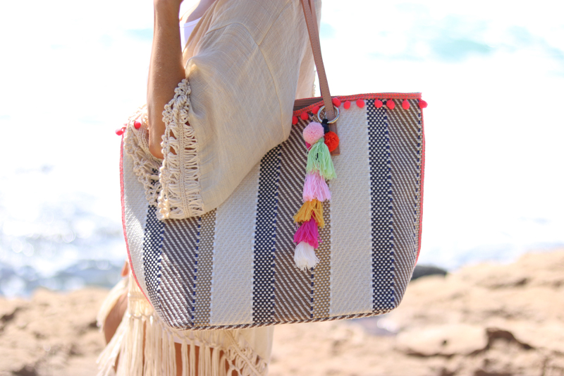 Sondra Roberts Striped Ball Fringe Tote, Jaylene Malley, Summer Accessories, Beach Bag, Summer 2017, Cute beach bag, Best beach tote