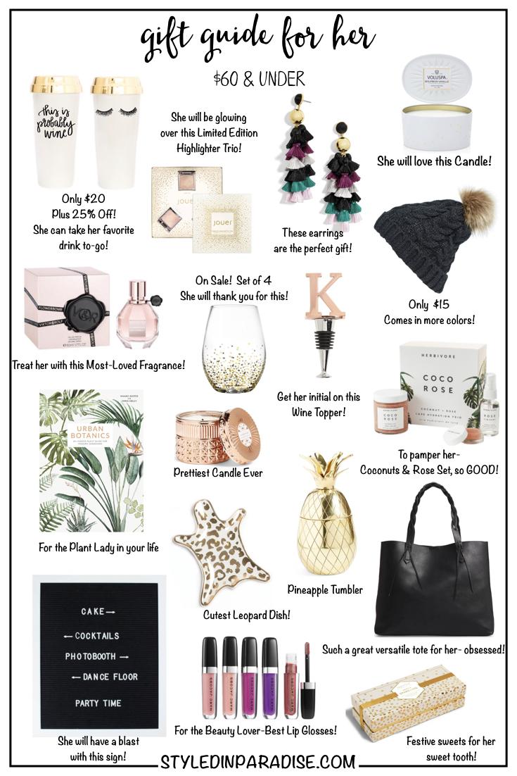 Gift Guide For Her | Under $60 | Best gift guide | Styled In Paradise blog | Fashion Blogger | Jaylene Michelle