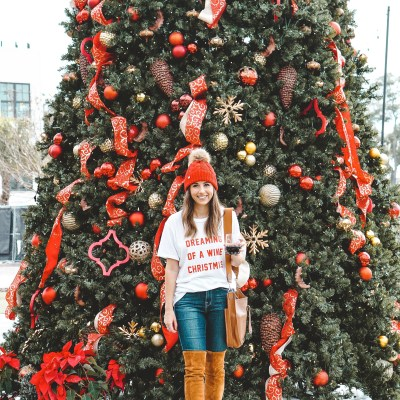 wine christmas tee with marlo boots