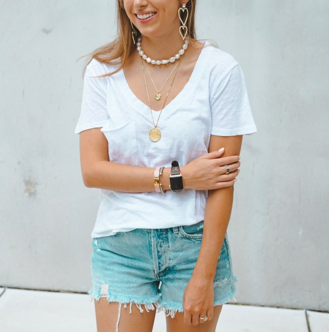baublebar pearl necklace with stella ruby initial necklace