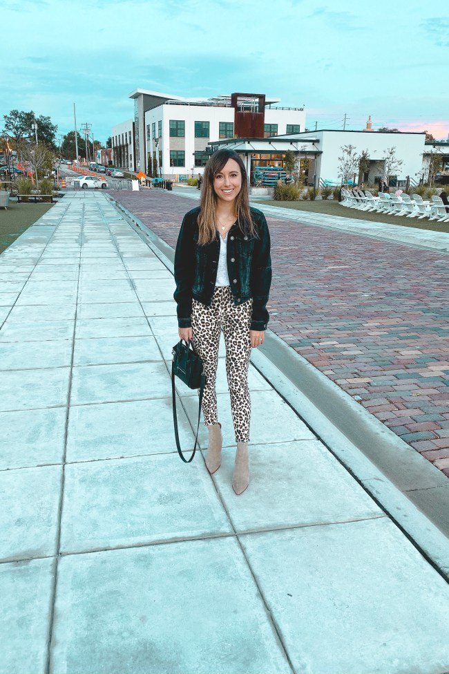 free people black denim jacket with frame leopard pants
