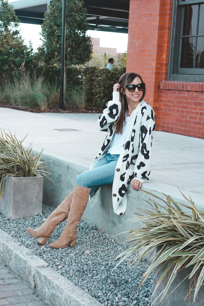 hai boots with amazon cow cardigan